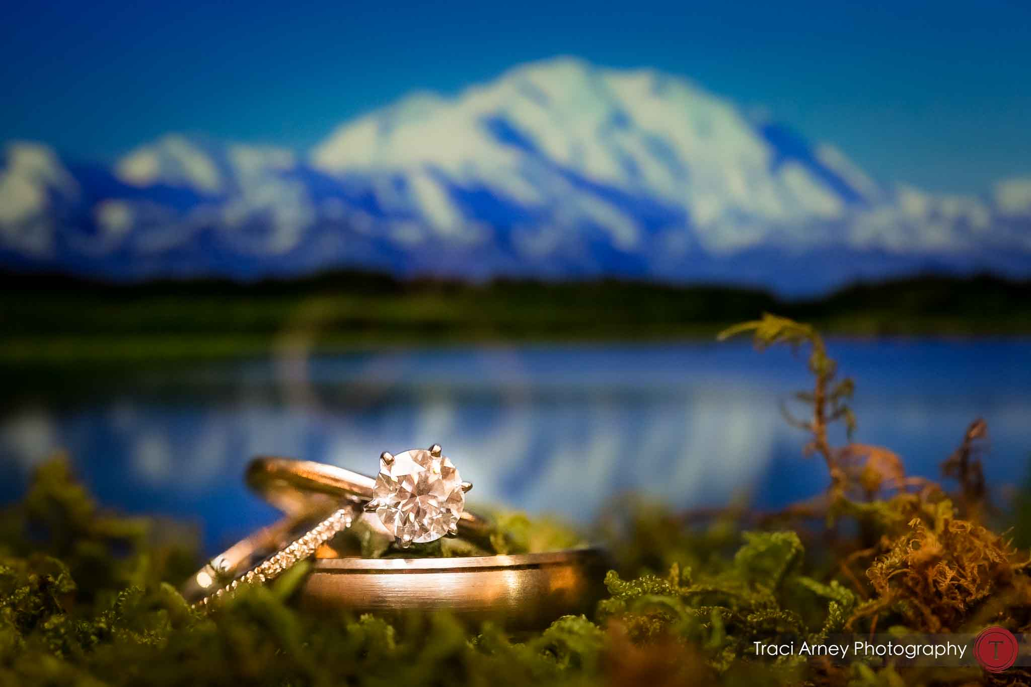 Ring shot of wedding rings in front of wonder lake , denali national park, Alaska