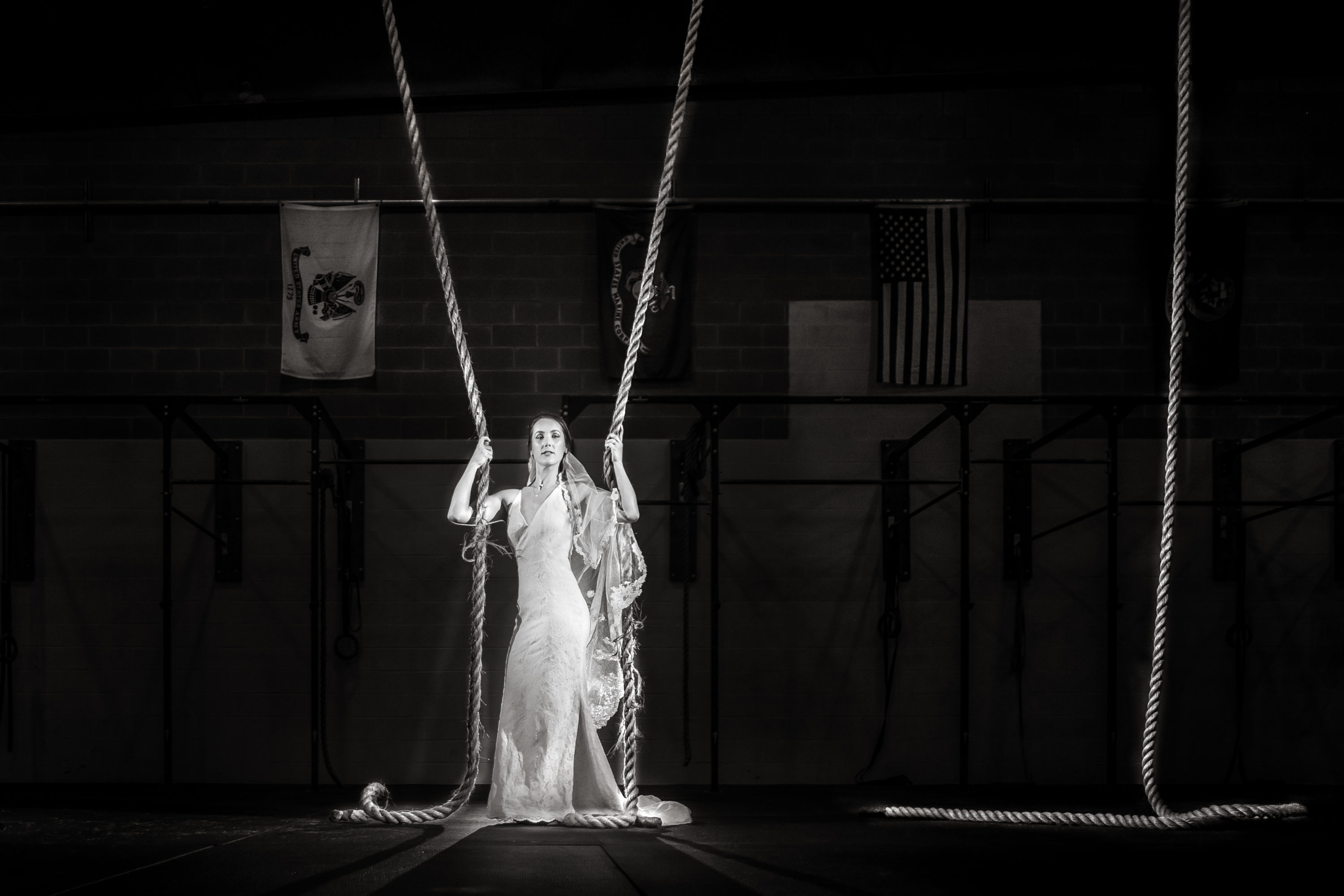 See image of bride taken during her bridal session in a Crossfit Gym in New Bern, NC